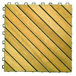 Pemberly Row Premium Plantation Teak Interlocking Deck Tile - 12 Slats