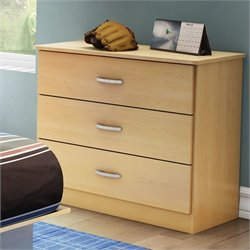 Pemberly Row Kids 3 Drawer Dresser in Natural Maple