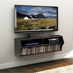 Pemberly Row Wall Mounted Home Entertainment Console in Black