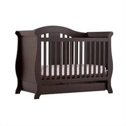 Pemberly Row 3-in-1 Fixed Side Convertible Crib in Espresso