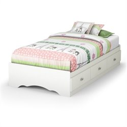 Pemberly Row Twin Mates Storage Bed in Pure White
