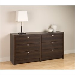 Pemberly Row 6 Drawer Double Dresser in Espresso