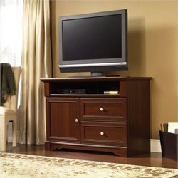 Pemberly Row Highboy TV Stand Select in Cherry Finish