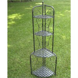 Pemberly Row Iron Folding Indoor Outdoor 4-Tier Bakers Rack