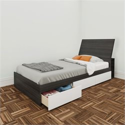 Pemberly Row Twin 3 Drawer Storage Bed in Ebony