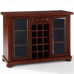 Pemberly Row Sliding Top Home Bar Cabinet in Vintage Mahogany