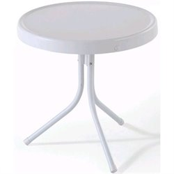 Pemberly Row Retro Metal Table in White