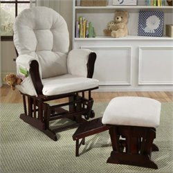 Pemberly Row Glider with Nursing Stool Ottoman - Cherry with Beige Cushions
