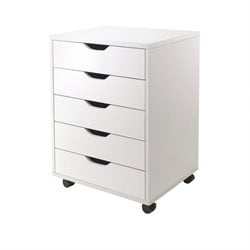 Pemberly Row 5 Drawer Wood Mobile Filing Cabinet in White