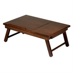 Pemberly Row Lap Desk Flip Top with Drawer and Foldable Legs in Antique Walnut