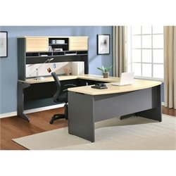 Pemberly Row U-Shape Computer Desk in Natural and Gray