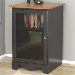 Pemberly Row One Door Audio Tower in Cherry and Black