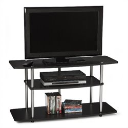 Pemberly Row Wide 3-Tier TV Stand in Black