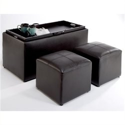 Pemberly Row Sheridan Storage Bench Ottoman in Espresso