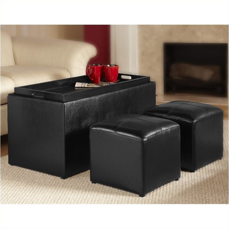 Pemberly Row Sheridan Storage Bench Ottoman in Black