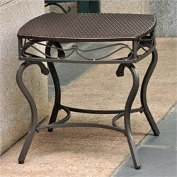 Pemberly Row Wicker Patio Side Table in Chocolate