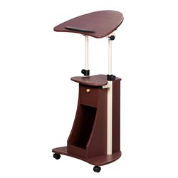 Pemberly Row Deluxe Height Adjustable Laptop Cart in Chocolate