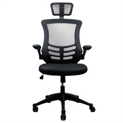 Pemberly Row Executive High Back Office Chair with Headrest in Black