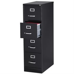 Pemberly Row 4 Drawer Letter File Cabinet in Black