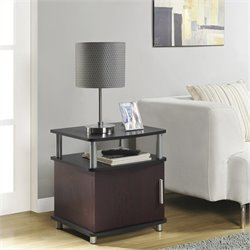 Pemberly Row Carson End Table with Storage in Cherry and Black