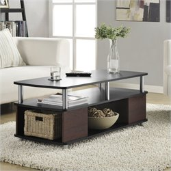 Pemberly Row Carson Coffee Table with Storage in Cherry and Black