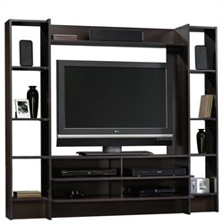 Pemberly Row Entertainment Wall System in Cinnamon Cherry Finish