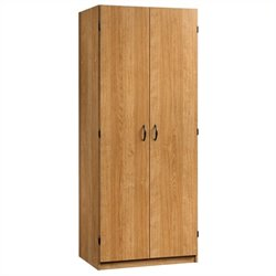 Pemberly Row Storage Wardrobe in Highland Oak Finish