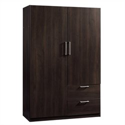 Pemberly Row Wardrobe Storage Cabinet in Cinnamon Cherry
