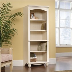 Pemberly Row Library 5 Shelf Bookcase in Antiqued White Finish