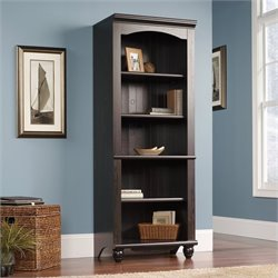 Pemberly Row Library 5 Shelf Bookcase in Antiqued Paint Finish