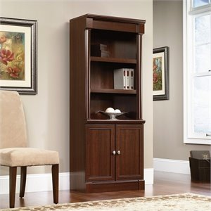 Pemberly Row Library Bookcase with Doors in Select Cherry