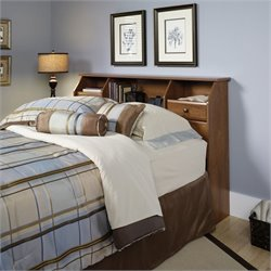 Pemberly Row Full or Queen Bookcase Headboard in Oak