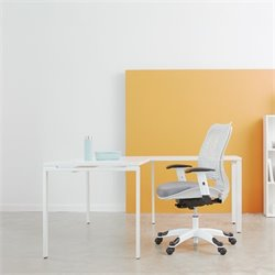 Pemberly Row L-Shape Workstation Desk in White