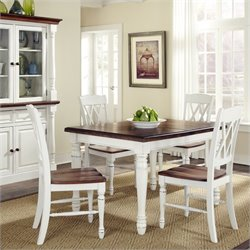 Pemberly Row 5 Piece Dining Set in White and Oak Finish