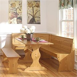 Pemberly Row Breakfast Corner Nook Table Set in Natural