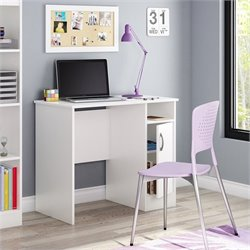 Pemberly Row Small Desk in Pure White