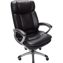 Pemberly Row Office Chair in Puresoft Black Faux Leather