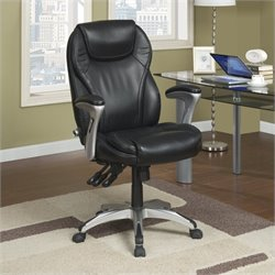 Pemberly Row Ergo-Executive Office Chair in Black Bonded Leather