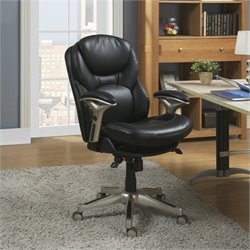 Pemberly Row Office Chair in Black Bonded Leather