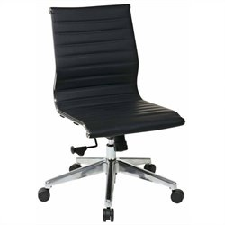 Pemberly Row Eco Leather Mid Back Armless Office Chair in Black