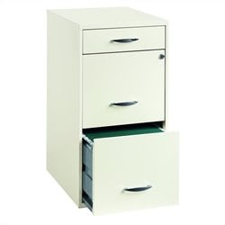 Pemberly Row 3 Drawer Steel File Cabinet in White