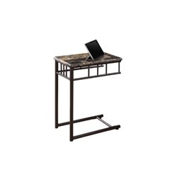 Pemberly Row Metal Snack Table in Cappuccino Marble and Bronze