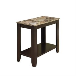 Pemberly Row Accent End Table in Marble and Cappuccino