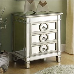 Pemberly Row Accent Table in Mirrored finish with 3 Drawers