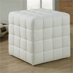 Pemberly Row Faux Leather Ottoman in White