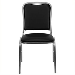 Pemberly Row Stacking Banquet Stacking Chair in Black