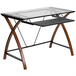 Pemberly Row Glass Computer Desk in Black and Cherry