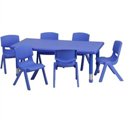 Pemberly Row 7 Piece Rectangular Activity Table Set in Blue