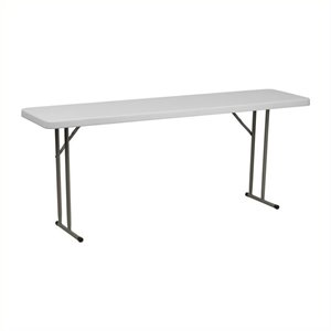 Pemberly Row Granite Plastic Folding Training Table in White