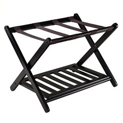 Pemberly Row Foldable Luggage Rack with Shelf in Dark Espresso